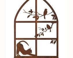 Cat in window wall plaque