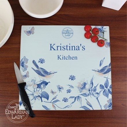 Personalised Country Diary blue blossom glass worktop saver