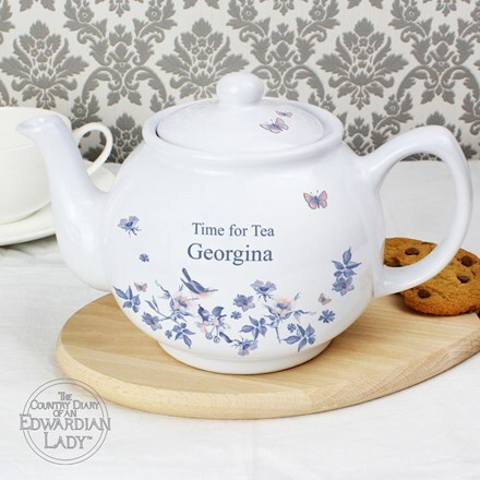 Personalised country diary blue blossom teapot