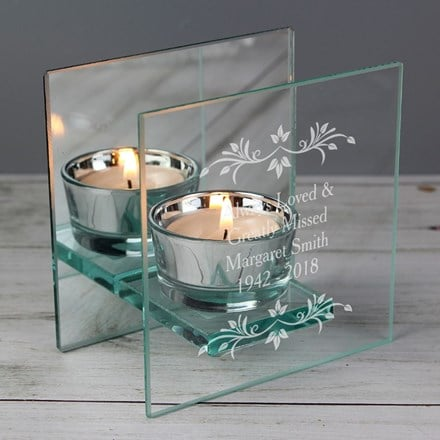 Personalised sentiments mirrored glass tealight candle holder