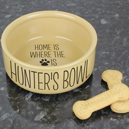 Personalised large brown dog bowl