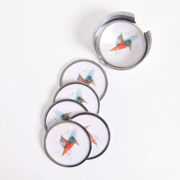 Kingfisher coasters - set of 6