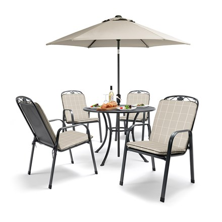 Kettler complete 4 seat dining set with cushions and parasol