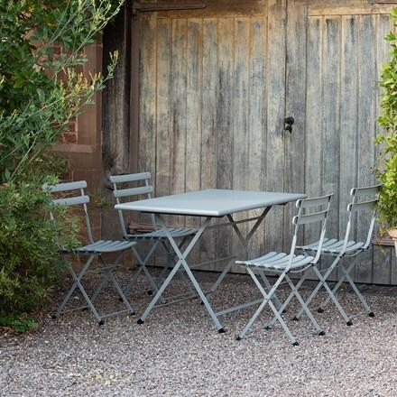 Rome folding rectangular 4 seat dining set - grey