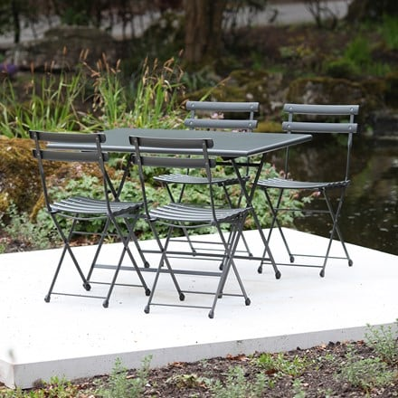 Rome folding rectangular 4 seat dining set - grey