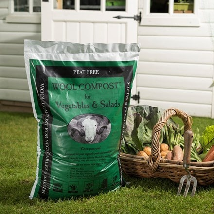 Peat free wool compost for vegetables and salad