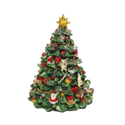 Revolving resin Christmas tree music box