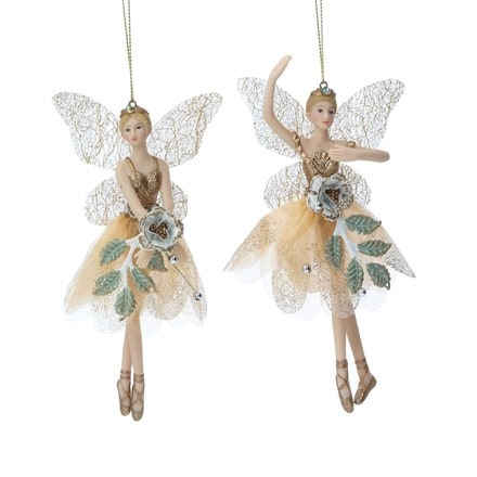 Cream/gold resin/fabric fairy decoration