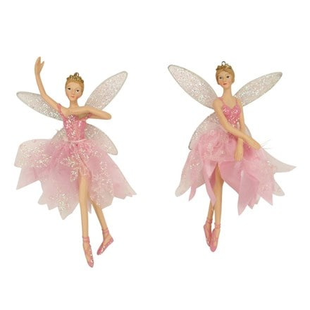 Pink fabric/resin ballerina fairy decoration