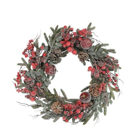 Frosted red berry/fruit/fir wreath