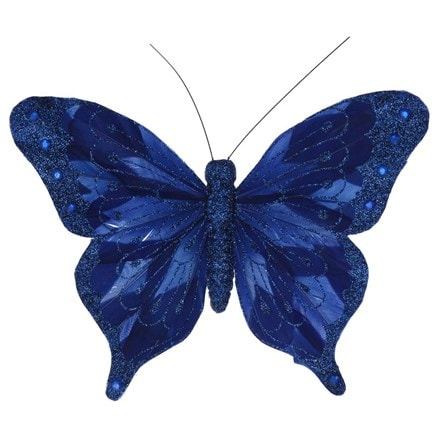 Blue feather butterfly clip