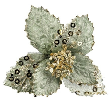 Pale green fabric/sequin poinsettia pick
