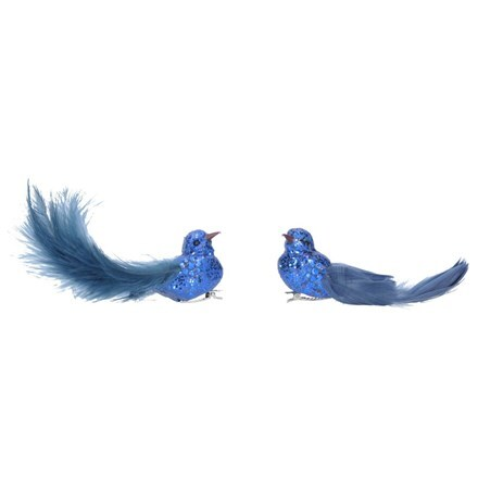 Blue glitter/feather bird on clip