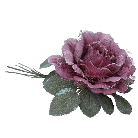 Plum fabric rose/leaf clip