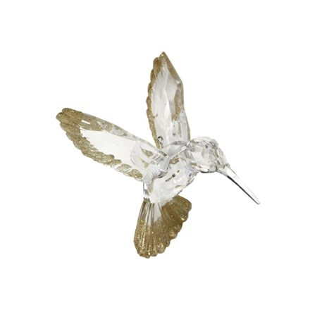 Clear/gold glitter acrylic hummingbird