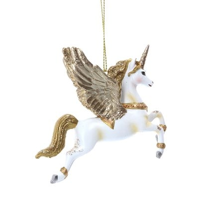 White/gold flying resin unicorn
