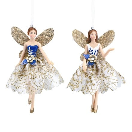 White/gold/blue resin/fabric fairy