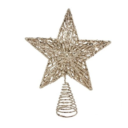 Gold glitter tree top star