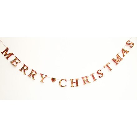 Plaid wood Merry Christmas garland