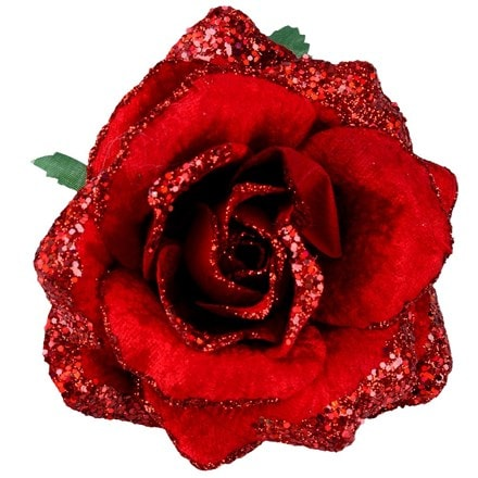 Red fabric rose/glitter clip