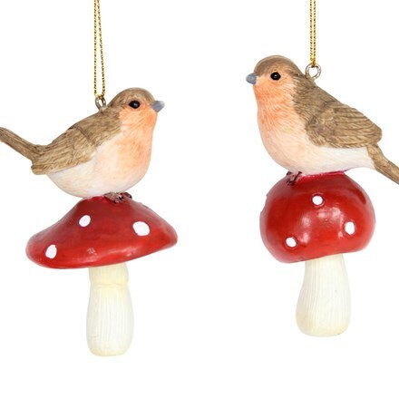 Resin robin on toadstool