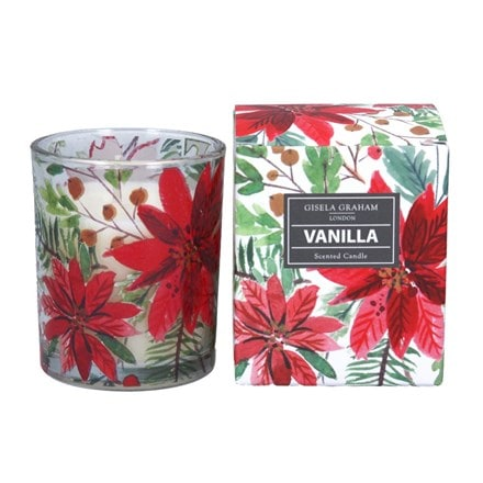 Poinsettia boxed candle pot