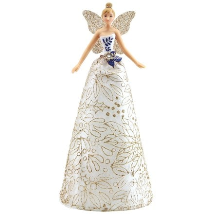 Blue/white/gold tree top angel