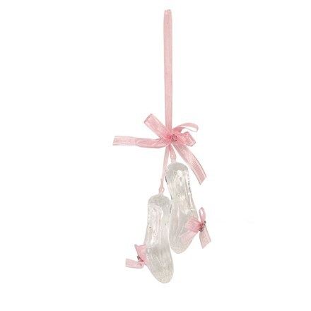 Clear acrylic/pink ribbon ballet shoes