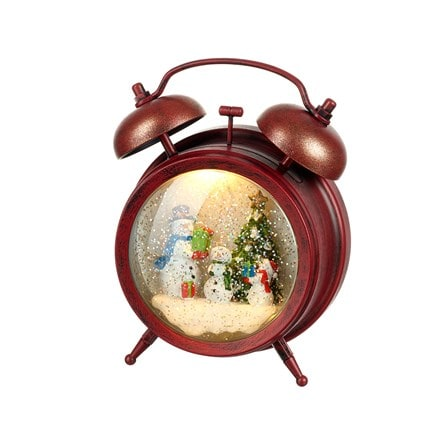 Light up clock with snowglobe