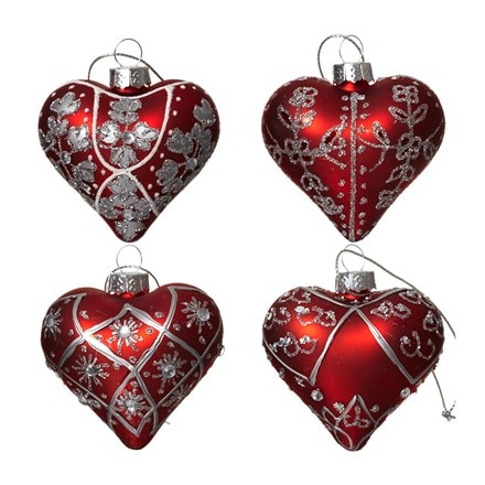 Red and silver glass heart set