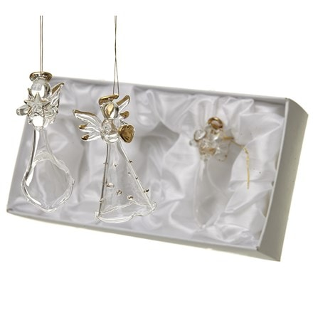 Boxed set of three glass angels