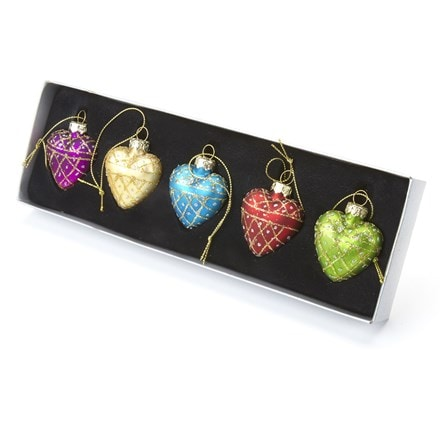 Multi coloured hearts - set of five