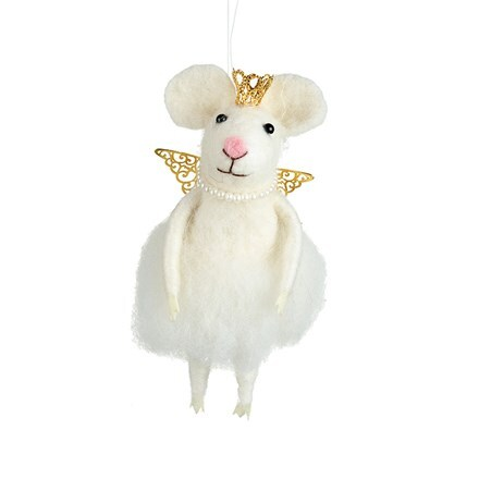 Felt mouse with gold crown
