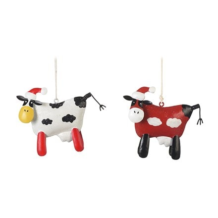 Metal hanging cows