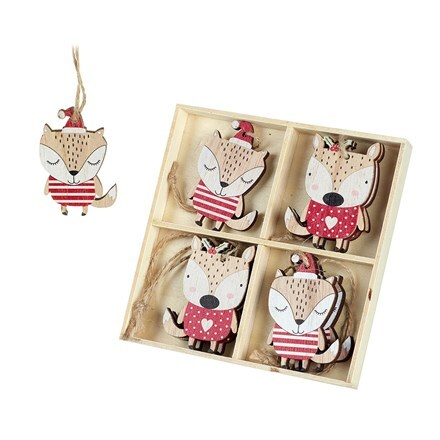 Hanging wooden foxes - set of eight