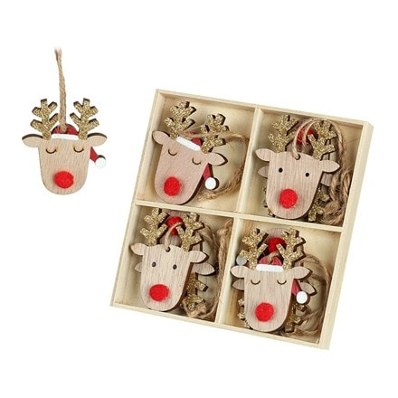Reindeer with gold antlers - set of eight