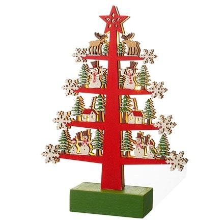 Light up decorative wooden tree