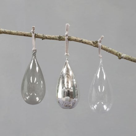 Tikari glass baubles - set of three