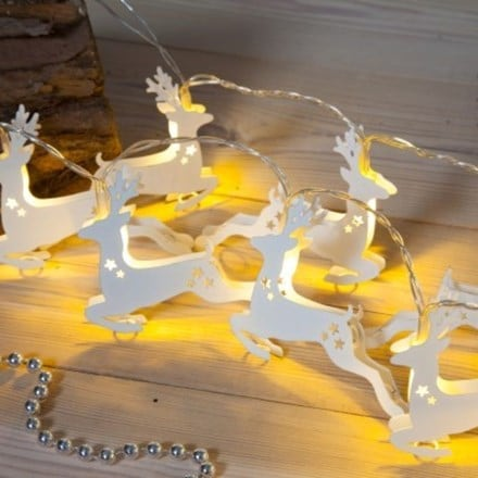 White metal reindeer light chain - 20 lights