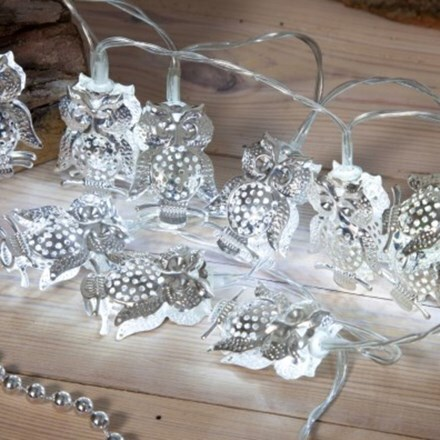 Silver metal owl light chain - 20 lights