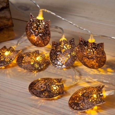 Copper metal owl light chain