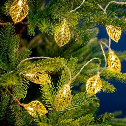 LED gold metal leaves light string - 10 lights