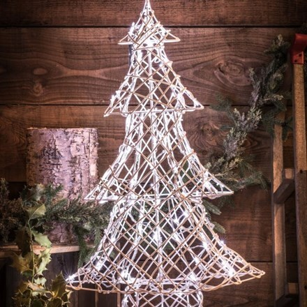 White wicker effect Christmas tree - 80 lights