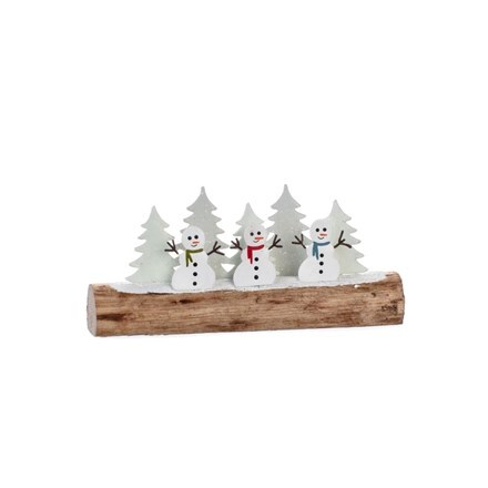 Snowman trio and trees