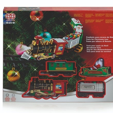 Christmas tree train set with lights