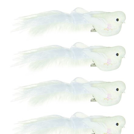 White feather birds - set of four