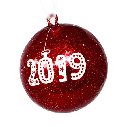 2019 red glitter bauble