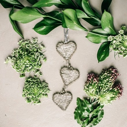 Triple beaded hanging heart chain - silver