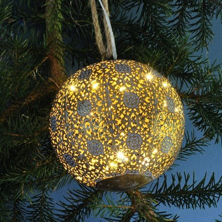 LED antique brass bauble