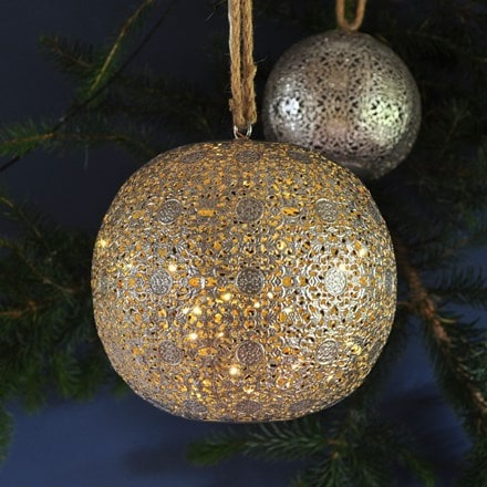 LED antique silver bauble